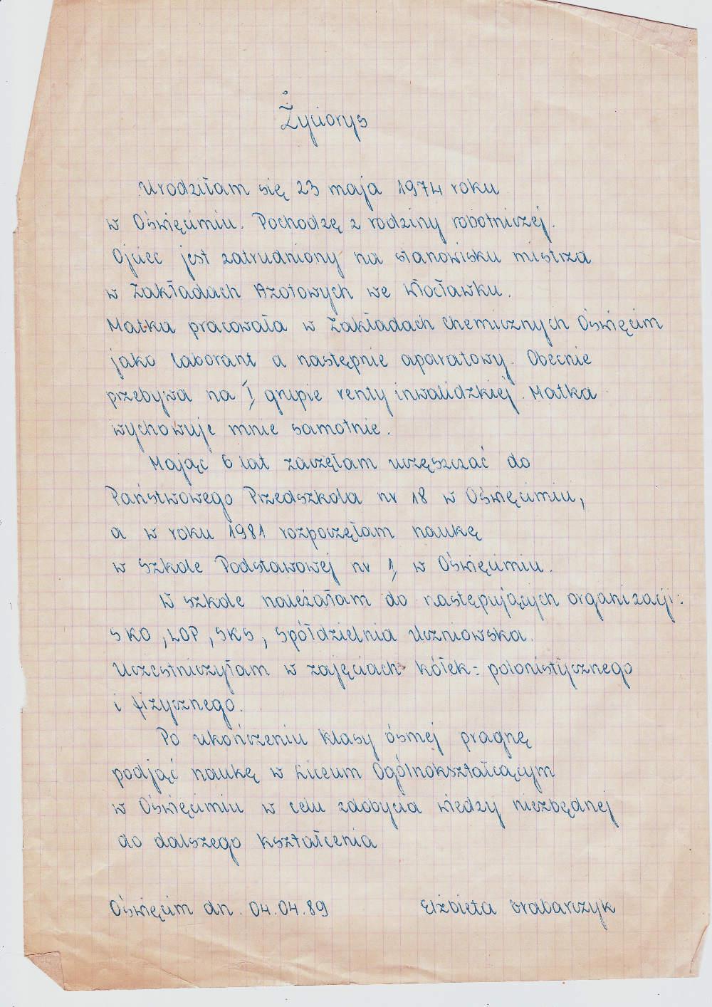 Photo: życiorys Oświęcim, 4 kwietnia 1989 r. scenki.blogspot.com
