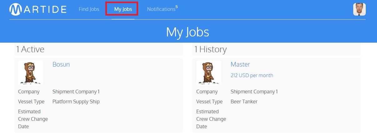 Martide website showing the jobs a seafarer has applied for