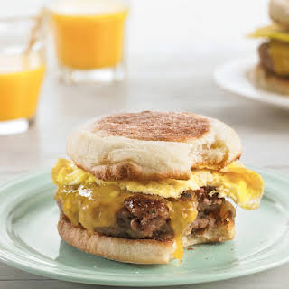 Cheesy Egg Sandwiches with Homemade Sausage.