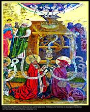 Photo: Das das Mühlenbild in der Universitätskirche in Rostock. Oben schütten die 4 Genien oder Symbole der Evangelisten aus Behältern das Wort bzw. das Evangelium in einen Mühlentrichter. An jeder Seite der Mühlsteine stehen 6 Apostel, welche an einer langen Welle die Mühlsteine drehen. Aus der Mühle unter den Mühlsteinen kommt ein Spruchband heraus. Und das Wort ward Fleisch und wohnte unter uns, und wir sahen seine Herrlichkeit (Joh 1, 14a).  An dem Spruchbande hängt das Christkind in einem Kelche, welchen die Kirchenväter halten.