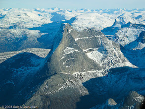 Photo: The mountain Stetind, with it's flat top, in Nordland in Northern Norway