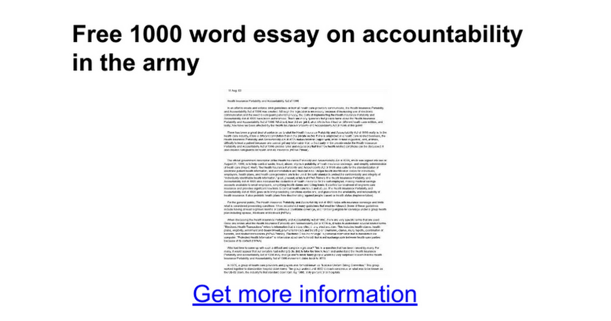 free 1000 word essay on accountability in the army