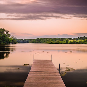 Silky Smooth by Winterlyn Stebner - Landscapes Sunsets & Sunrises ( clouds, reflection, sky, sunset, colors, weather, summer, forest, lake, bridge, night sky, river )