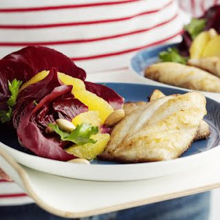 Pan Fried Fish with Radicchio and Orange Salad.