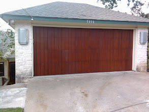 """Photo: San Jose Style. Faux Finished. 16 x 7 Wood Free Door by Cedar Park Overhead Doors. """"The door is incredible!!  Even before the bling, it is the most beautiful garage door I have ever seen!  Thank you so much, and have a great weekend!!"""""""