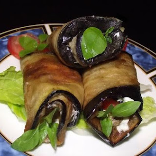 Eggplant Rolls With Tomato,garlic And Herbs