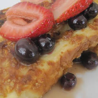 Granola French Toast With Very Berry Maple Syrup.