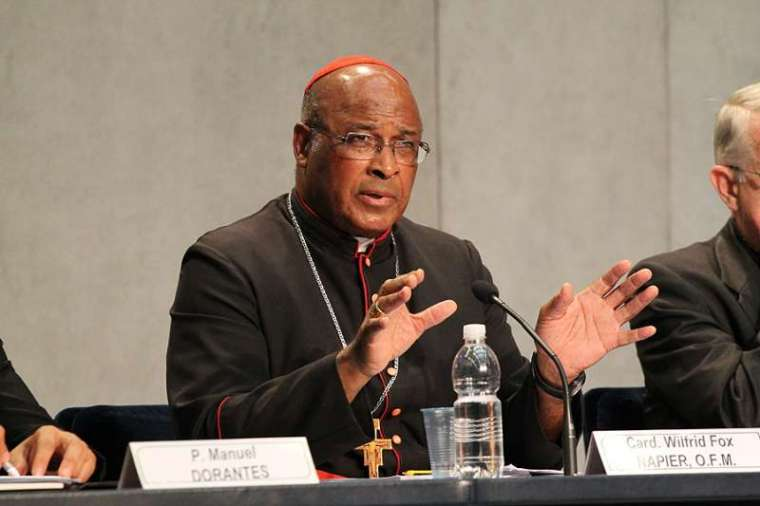 Cardinal Wilfrid Napier speaks at the Vatican Press Office.