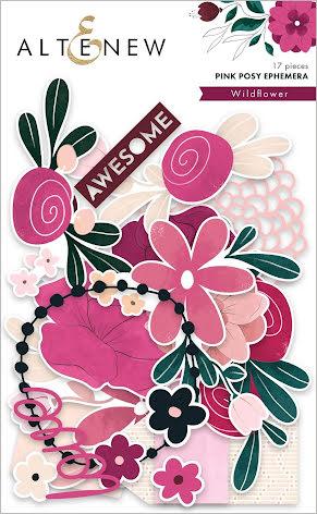 Altenew Pink Posy Ephemera -  Wildflower