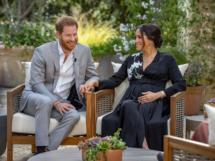 Prince Harry and Meghan, The Duke and Duchess of Sussex, give an interview to Oprah Winfrey in this undated handout photo.