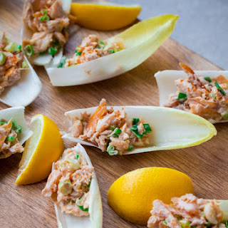 Endive Spears with Smoked Trout.
