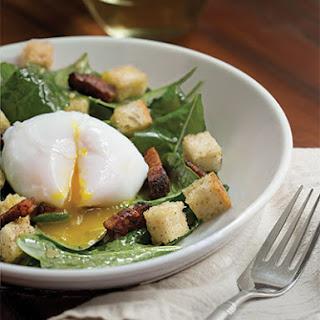 Poached Duck Eggs with Baby Mustard Greens, Lardons, Sourdough Croutons and Shallot-Mustard Vinaigrette
