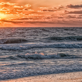 Gulf of Mexico Sunset by Lynn Kirchhoff - Landscapes Sunsets & Sunrises ( waves, surf, sky, florida, island, beatiful, magnificent, clouds, brilliance, sea, orange, horizon, ocean, gulf of mexico, sunset, beach,  )