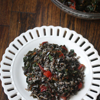 Wild Rice with Wilted Greens