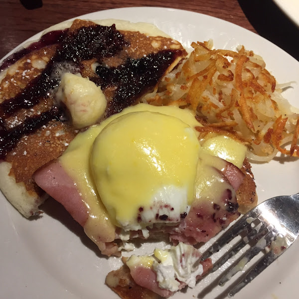 Eggs  Benedict!!  And my husbands Blueberry pancakes!!!  Yummy. GF!!!