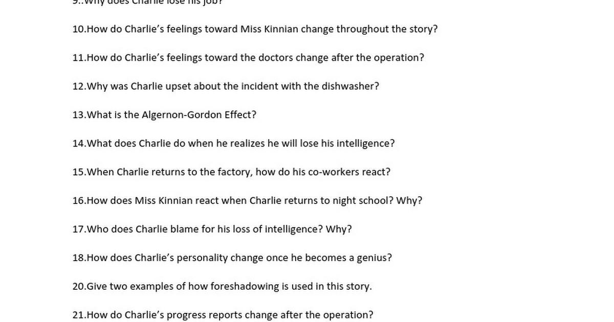 Flowers For Algernon Study Questions