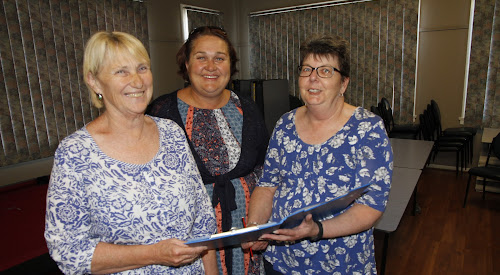 Boggabri Business and Community Progress Association members put the finishing touches to plans for Saturday's  big Spring Fair  and Food Festival last night - Cath Collyer, Caz Nancarrow and Donna Turner.