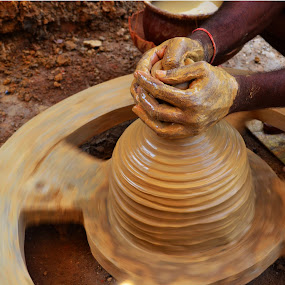 From the Potter's wheel... by Ruhi Chanda - Artistic Objects Other Objects ( clay, occupation, art n craft, art, photography., pottery, fine art, india, people )