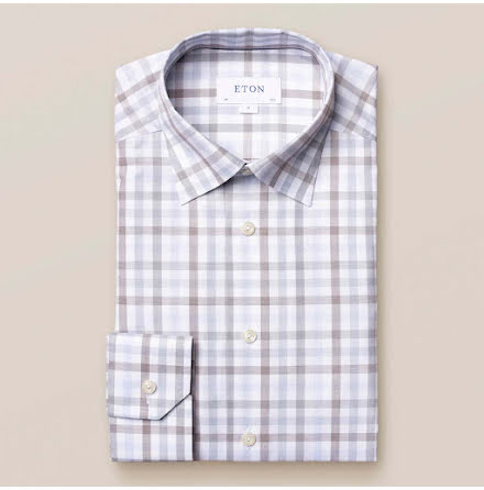 ETON White and blue plaid signature twill contemporary fit