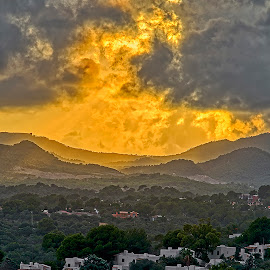 Apocalypse Sun Set by Dave Williams - Landscapes Cloud Formations ( majorca, spain, storm, stormy, sunset, apocalypse, weather, skies, clouds )