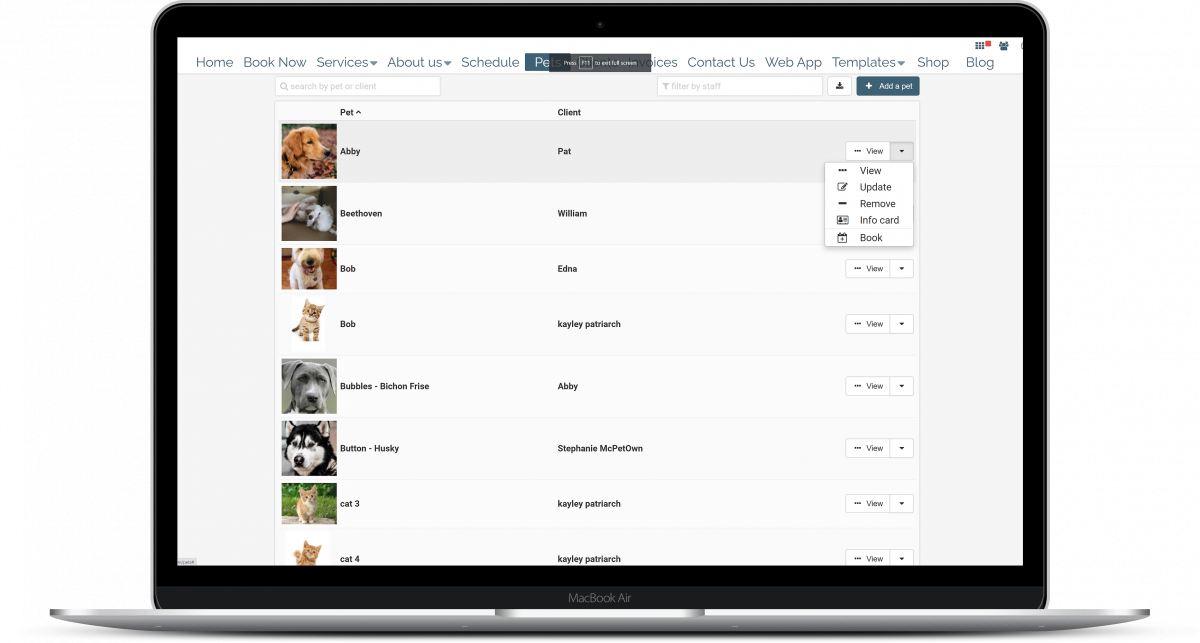 Pet owner client management CRM