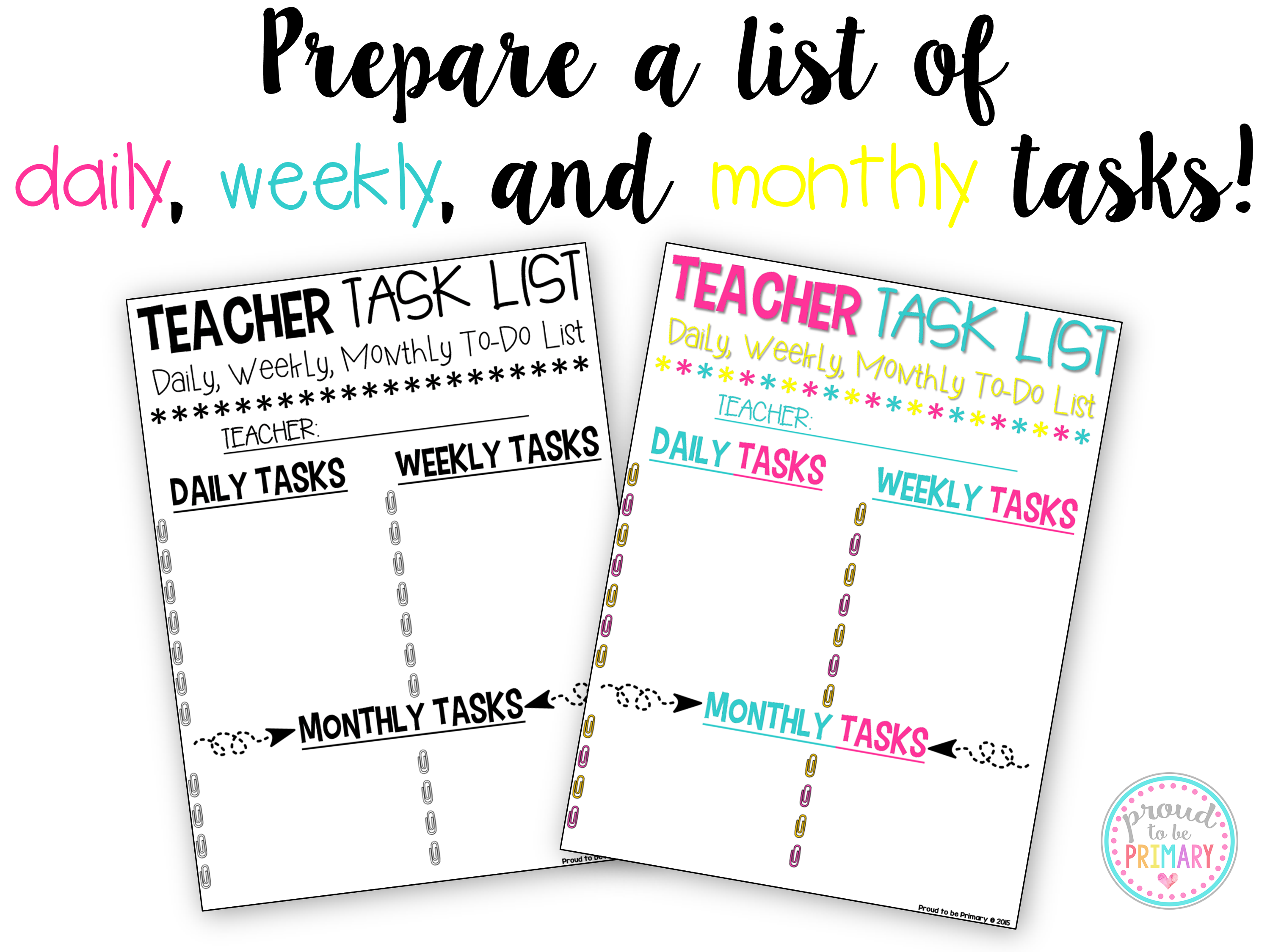 time management for teachers - teacher task list