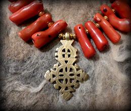 Photo: # 207 SEA PRINCESS ~ МОРСЬКА ЦАРІВНА  - brass Coptic cross, coral, gold plate   $135/set