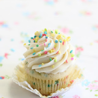 Confetti Cupcakes with Cake Batter Frosting for Three!.