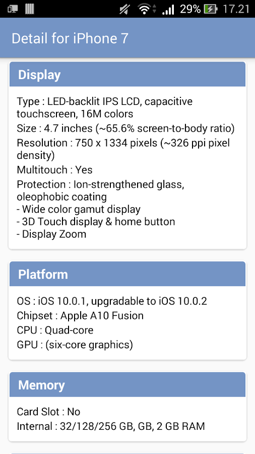 Phone Comparison by Specs- screenshot