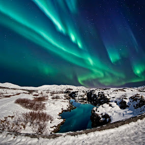 NORTHERN LIGHTS  by Þorsteinn Ásgeirsson - Landscapes Starscapes ( reflection, mountains, night., brook, blue, hillsides, northern lights, snow, white, shrubs )