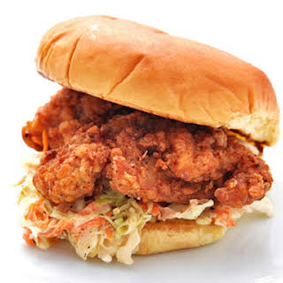 Fried Chicken and Coleslaw Sandwiches.