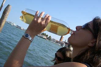 Photo: Teresa chugging wine...the bottle would be near empty in a couple hours