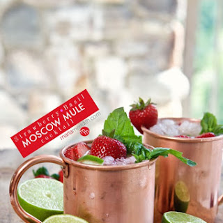 Strawberry Basil Moscow Mule Cocktail.
