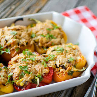 Light Chipotle Chicken & Rice Stuffed Peppers.