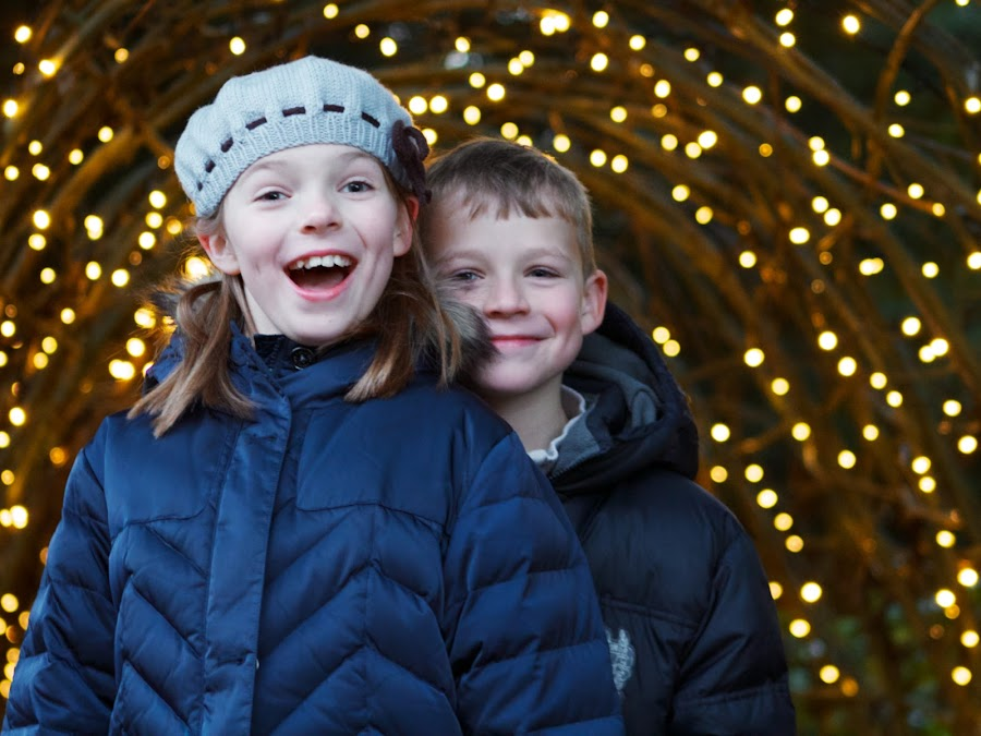Brother & Sister Under the Lights by Joe Proctor - Babies & Children Children Candids ( sister, lights, girl, blue, christmas, brother, smiles, boy )