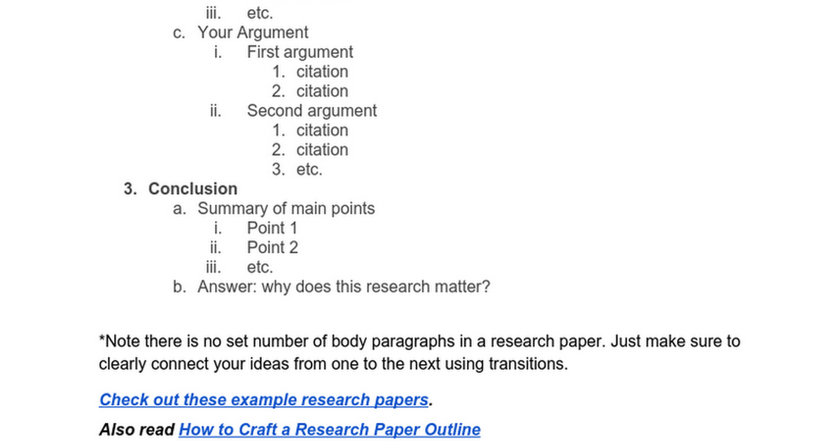 Research Paper Outline Template Kibin Google Docs