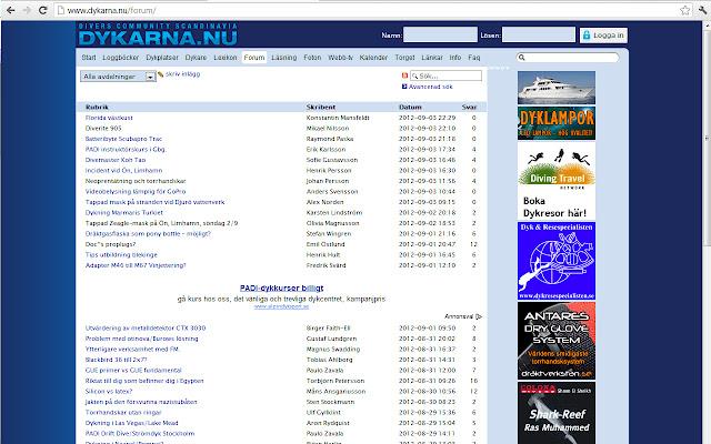 Dykarna.nu forum filter