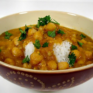 Chickpeas and Barley in Red Lentil and Eggplant Sauce.