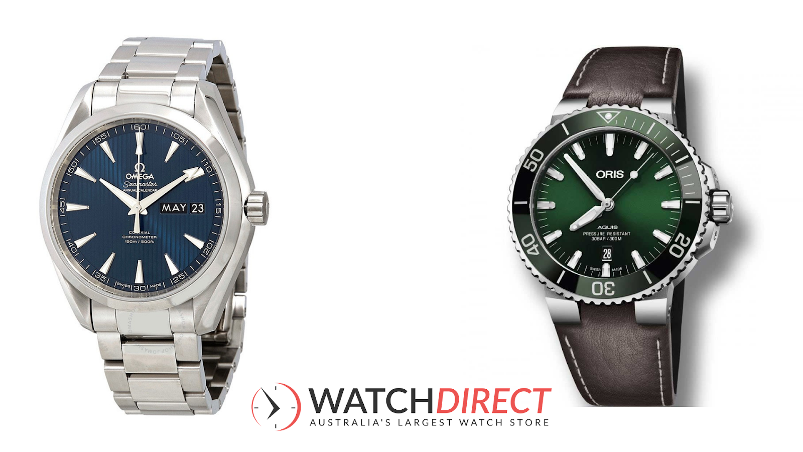 It's navy seal vibes all round thanks to theOmega Aqua Terra Co-Axial Annual Calendar Blue Dial Men's Dial and Oris Aquis Automatic Green Dial Men's Watch.