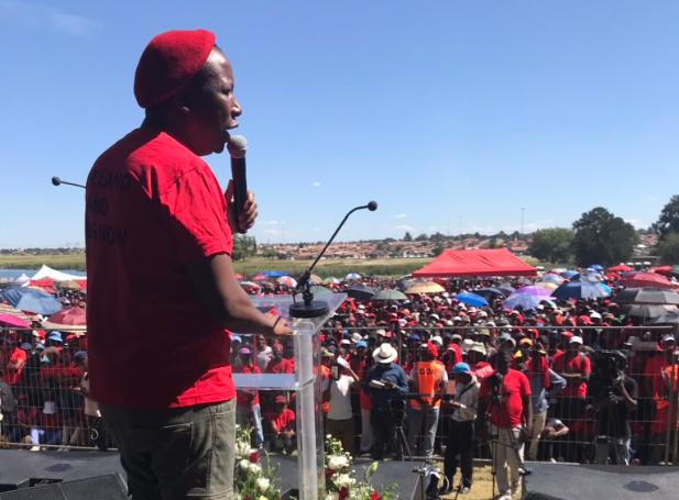 EFF leader Julius Malema addresses a commemoration at Sharpeville on March 21 2019.