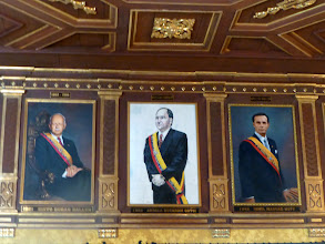 Photo: Hall of the presidents (detail).  Rafael Correa, the current president, recently re-elected, has served longer than any other in Ecuador's history.