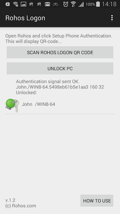 Rohos Logon Key- screenshot