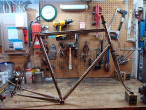 Photo: Finished frame, fork and custom front rack.
