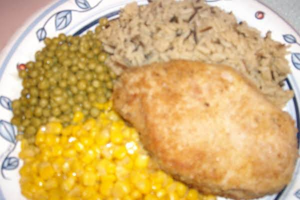 Breaded Pork Chop With Long Grain & Wild Rice, Peas, & Corn