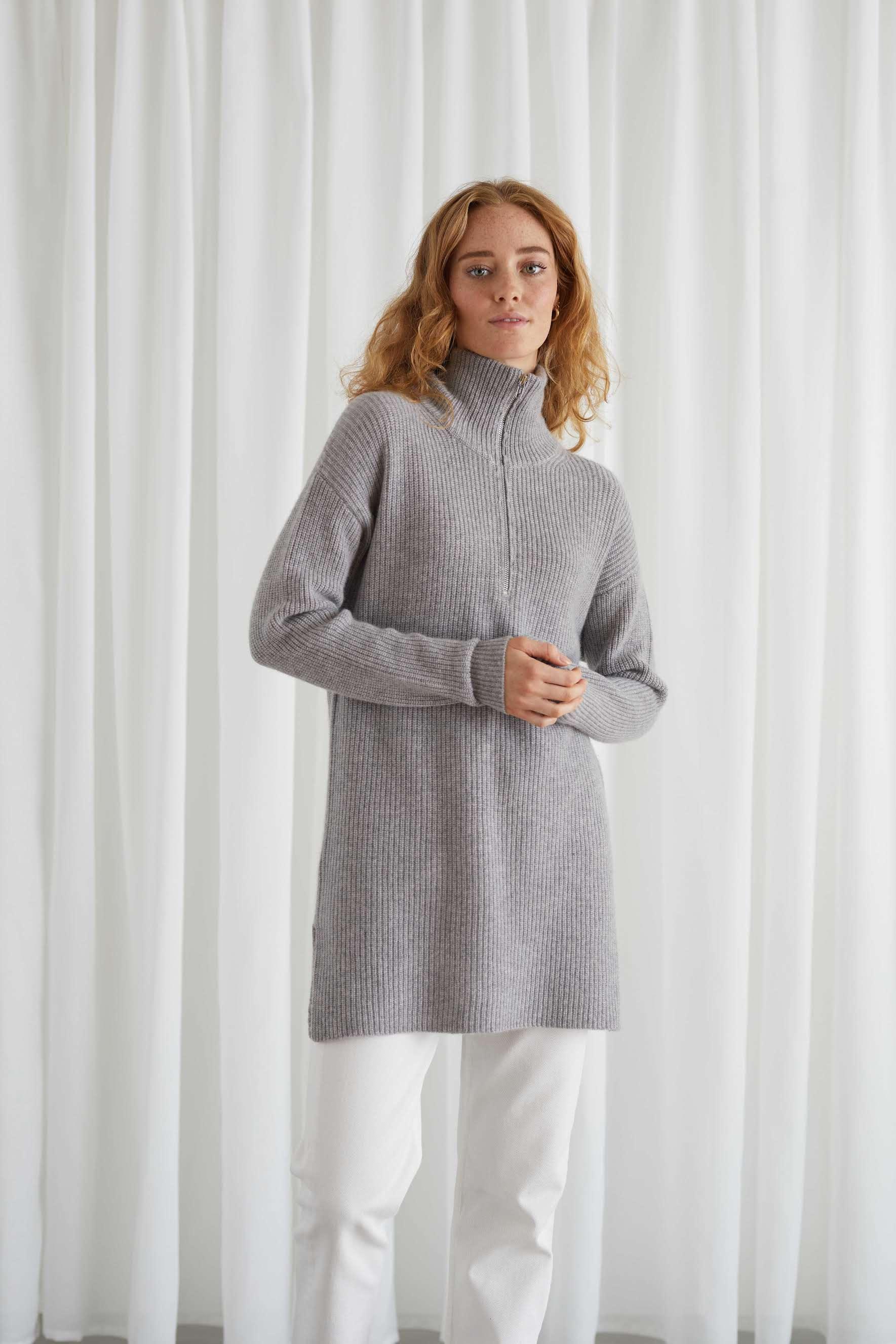 Half Zip Ribbed Long Sweater