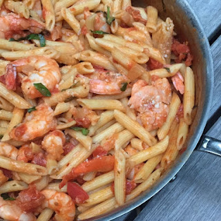 LOW FAT PENNE a LA VODKA with SHRIMP Recipe