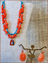 Photo: #194 GRACE ~ БЛАГОДАТЬ Copper enamel pendant, coral, turquoise, shell, gold plate, 14K gold vermeil $100/set SOLD
