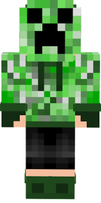 My Creeper Human oc with hoodie down & mask on.
