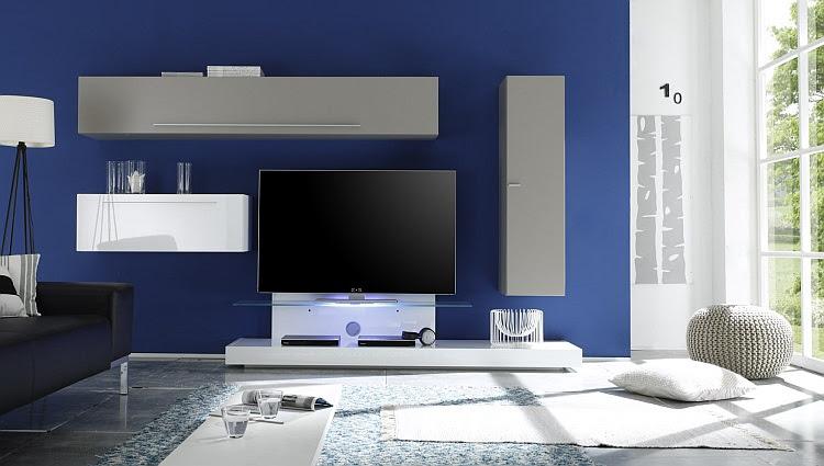 parete attrezzata soggiorno bali 10, arredo moderno, mobile tv ... - Soggiorno Blu E Bianco