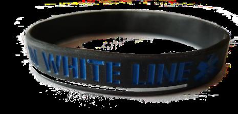 Thin White Line Silicon Armband
